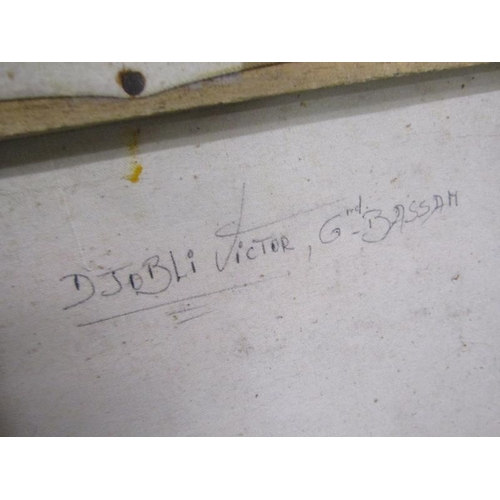 527 - DJOBLI VICTOR - OIL ON CANVAS, FRAMED, 31CM X 36CM