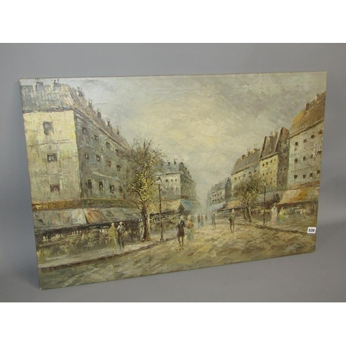 530 - BURNETT 1950s CONTINENTAL STREET SCENE OIL ON CANVAS UNFRAMED 61 x 91 cms