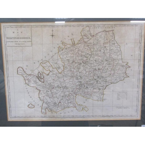 506A - LATE 18C MAP OF HERTFORDSHIRE ENGRAVED FROM AN ACTUAL SURVEY, F/G,