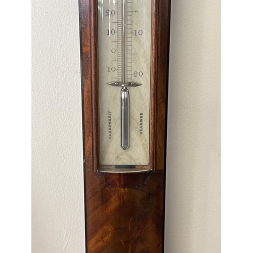 1014 - Fine antique 19th century English mahogany stick barometer. By J Ronketti Optician . 116 Gt Russell ...