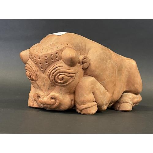 1020 - Rhonda Barbara (Barbara) Tribe (1913-2000) Australia, Terracotta Bull , number 3/12, approx 16cm H x...