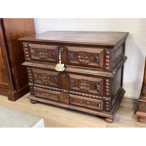 1034 - Antique 18th century Spanish two piece chest, fitted with three drawers, with applied geometric pane...