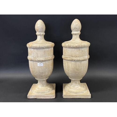 1036 - Pair of decorative faux wood finials, each approx 57cm H (2)