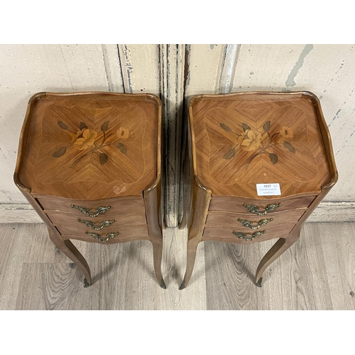 1037 - Pair of vintage French Louis XV style petite size nightstands, fitted with three drawers, each appro...