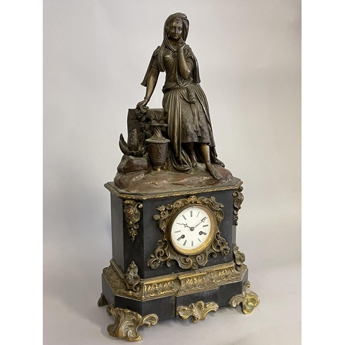 1026 - Antique French bronze figure mounted clock, no key has pendulum (in office c129.254) approx 64cm H x...