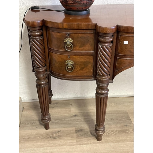 1029 - Fine quality antique mid 19th century mahogany sideboard, six turned spiral and fluted tapering legs...