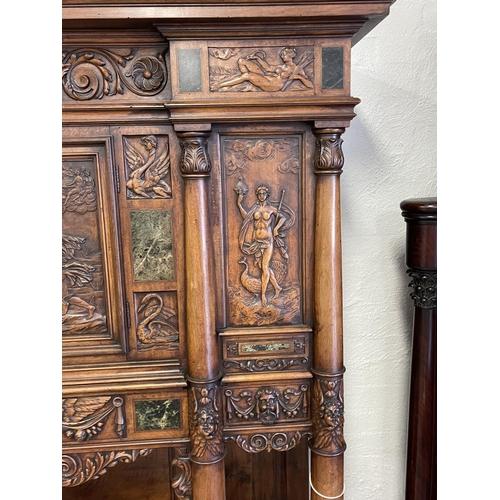 1035 - Most impressive & rare fine antique French Napoleon III period, circa 1860s, walnut & green marble i...