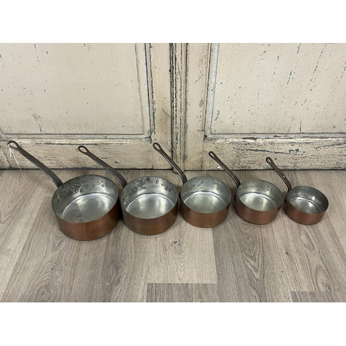 1047 - Set of five French copper sauce pans, iron handles stamped Frabation France, approx 30cm Dia and sma...