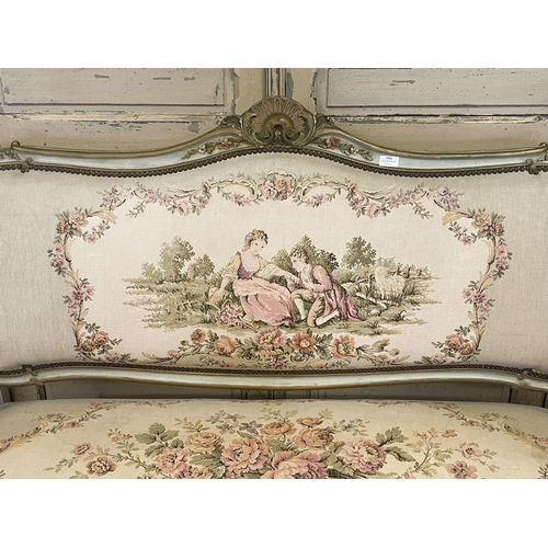 1053 - Antique French Louis XV revival sofa, painted frame, with tapestry studded upholstery, approx 107cm ...