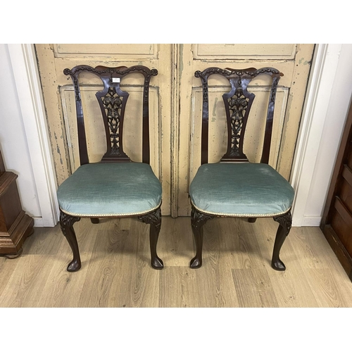 1057 - Rare pair of antique George II chairs, pierced and well carved backs, carved knees to the front legs...