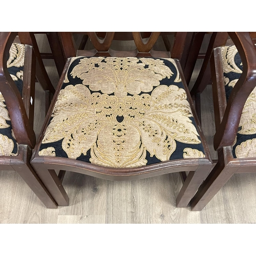1058 - Good set of six antique Georgian revival dining chairs, interlaced backs, all on champhered square l...
