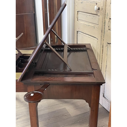 1059 - Antique George III mahogany Architects desk, lift up adjustable drawing surface, pull out front with...