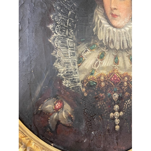 1015 - Rare antique 19th Century portrait of Mary Queen of Scots, oil on canvas, mounted into a silk backin...