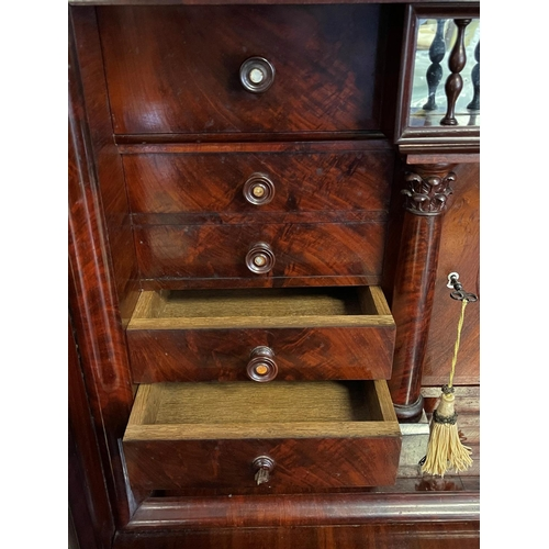 1038 - Antique flambé mahogany Secretaire, fitted with a top single door cupboard, single long drawer above...