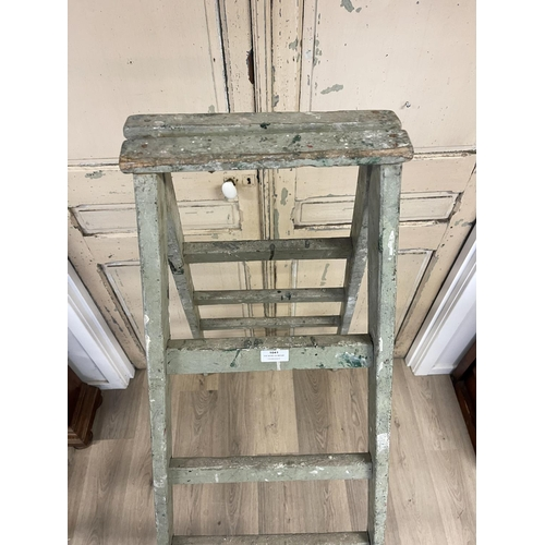 1041 - Vintage French blue milk painted A frame step ladder, approx 187cm H