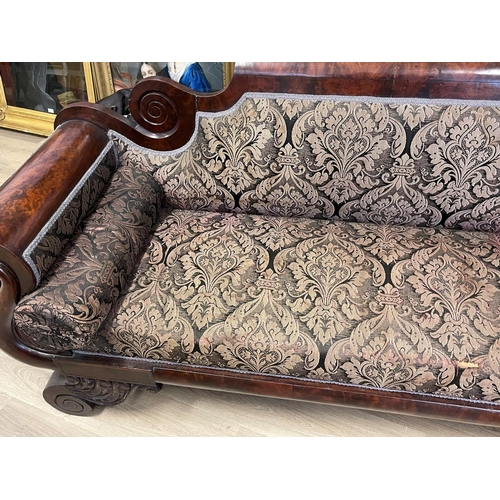 1060 - Antique early 19th century Flame Mahogany Classical Empire double ended Sofa, approx 204cm W