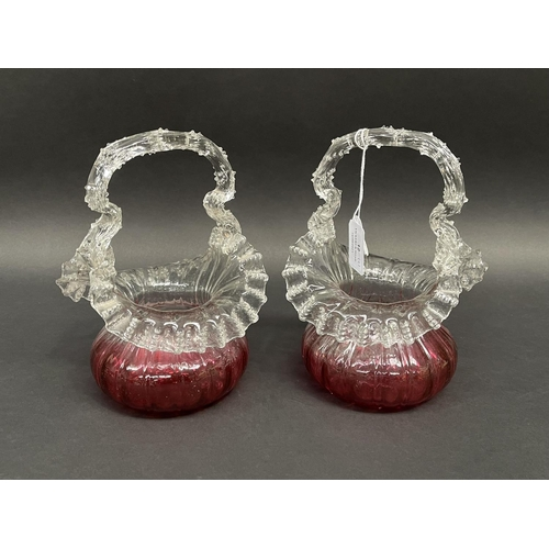 12 - Pair of Victorian Cranberry baskets, approx 20cm x 14cm each
