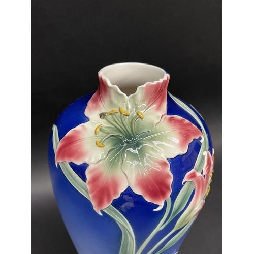 13 - Decorative Franz Art Nouveau style vase, approx 32cm H