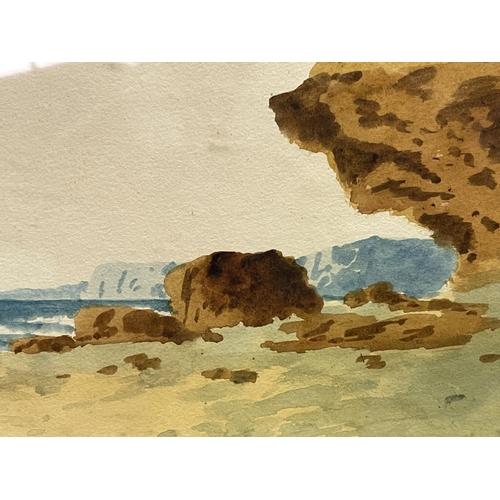 16 - Jan de Leener (1873-1944)  coastal scene watercolour, S.L.L, approx 24cm x 37cm