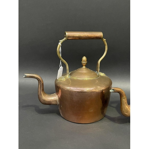 21 - Two antique English copper and brass kettles, approx 28cm H & shorter (2)
