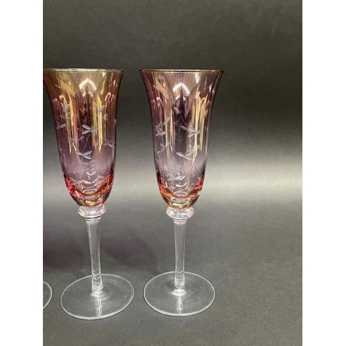 30 - Set of six wheel cut decoration champagne flutes, approx 23cm H (6)