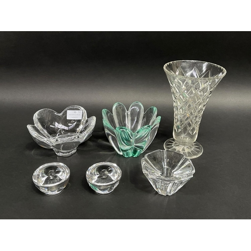 33 - Assortment of art glass to include bowls, candle holders and vase, to include Orrefors, approx 20cm ...
