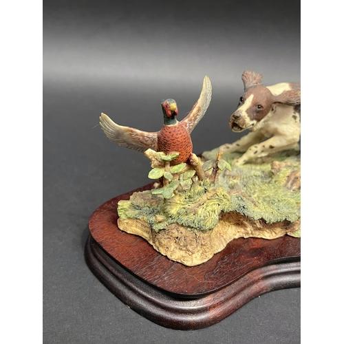 34 - Scottish Border Fine Arts, signed Ayres 119/1300, Gundog and pheasants detachable wooden base, appro...