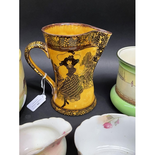 35 - Assortment of Royal Doulton to include vases, jug, bowl, creamer, sugar, etc,  Morrisian , Dutch Har...