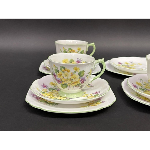 41 - Royal Albert Primulette cups, saucers and plates for 5 plus extras (17)