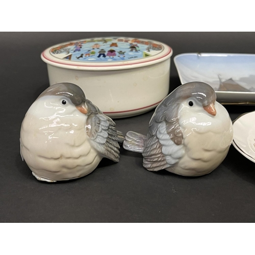 48 - Selection of estate china to include Lladro shepherd boy and lamb, birds, Villeroy and Boch box etc,...