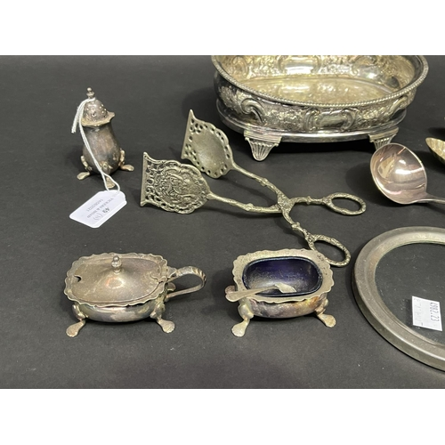 49 - Selection of estate silver plated items, cruet and stand, nips, frame etc