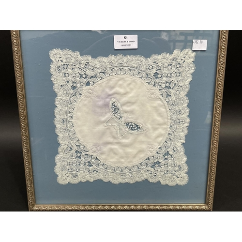 51 - Framed antique hand made lace handkerchief by Flora Dale Copes, approx 23cm sq