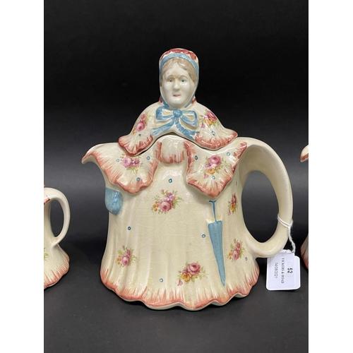 52 - English Old Lady teapots, sugar, creamer, approx 22cm H & shorter (4)