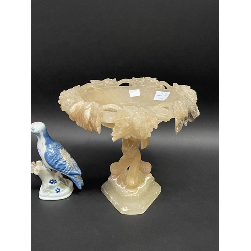 53 - Alabaster comport and a Zsolnay bird figure, approx 28cm x 25cm and smaller (2)