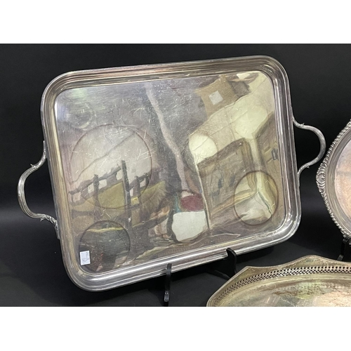54 - Service tray to include rectangular twin handled example, Sheffield plate pierced example etc, appro...