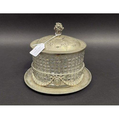 7 - Antique silver plated oval lidded biscuit barrel, approx 23cm H x 15cm W