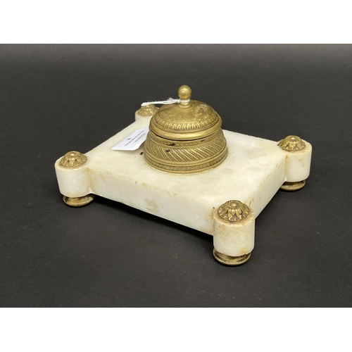 8 - Antique French bronze and marble inkstand, approx 9cm H x 17cm W x 13cm D