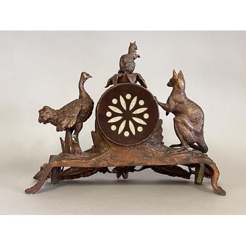 1005 - Antique Australian advance Australia clock, bronzed spelter, mounted with a figure of a kangaroo, em...
