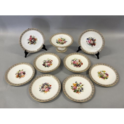 1006 - Antique English Brownfield's porcelain part desert service comprising  three comports and six plates...
