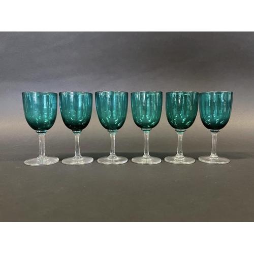 1007 - Set of six antique Bristol green wine glasses, each approx 12.5 cm H (6)