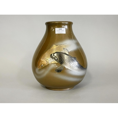 1009 - Fine antique Japanese bronze vase, decorated in low relief with a gold and silver carp, signed to ba...