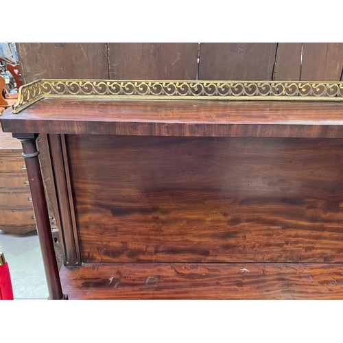 1 - Antique English late Regency period breakfront sideboard, the two door breakfront mounted with gilt ...