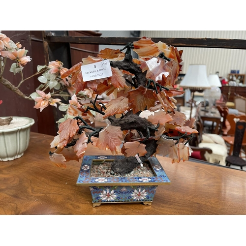 4 - Four hard stone and glass faux bonsai, approx 38.5cm and smaller (4)