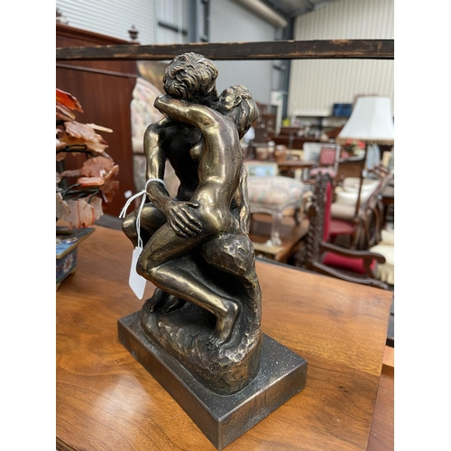 5 - Decorative bronzed figure of The Kiss, approx 26cm H