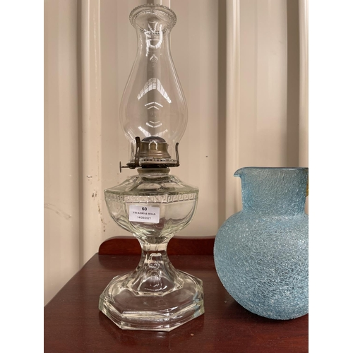 60 - Antique glass lamp with flue and blue and amber jug (2)