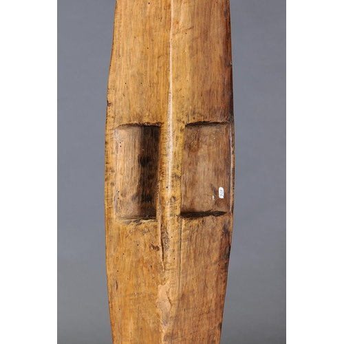 1000 - FINE LARGE NARROW SHIELD, YALATA, SOUTH AUSTRALIA, carved and engraved hardwood (with custom stand) ...