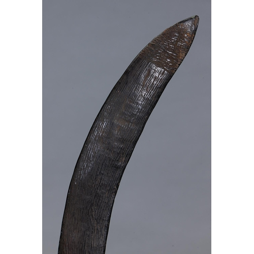 1001 - FINE EARLY FIGHTING BOOMERANG, SOUTH EAST QUEENSLAND, carved and engraved hardwood, of crescent form...