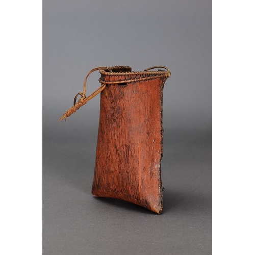 1002 - RARE EARLY RAINFOREST BARK BASKET, FAR NORTH QUEENSLAND, molded bark, cane, spinifex resin and natur...