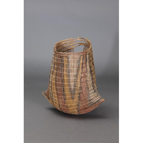 1004 - FINE EARLY PAIR OF BICORNUAL BASKETS (JAWUN), HERBERTON GORGE, NORTH QUEENSLAND, woven lawyer cane a...
