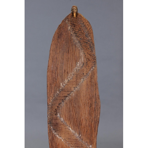 1043 - EARLY INCISED SPEAR THROWER (WOOMERA), WESTERN AUSTRALIA, Carved and engraved hardwood and natural p...